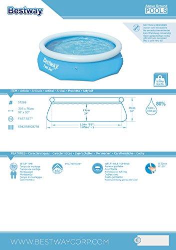 Bestway Fast Set Pool, rund, ohne Pumpe, blau, 305 x 76 cm - 4