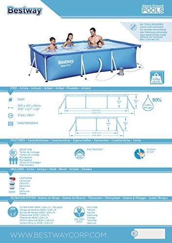 Bestway Frame Pool Deluxe Splash - Steel Pro, Set mit Filterpumpe, 300 x 201 x 66 cm, blau - 7