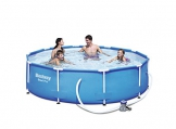 Bestway Frame Pool Steel Pro, Set mit Filterpumpe, 305 x 76 cm, blau - 1