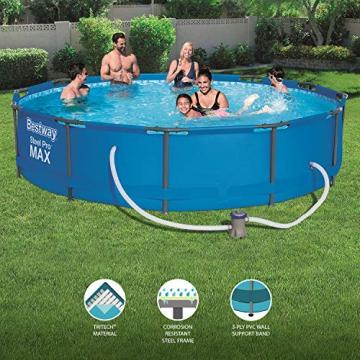 Bestway Frame Pool Steel Pro, Set mit Filterpumpe, 366 x 76 cm, blau - 3