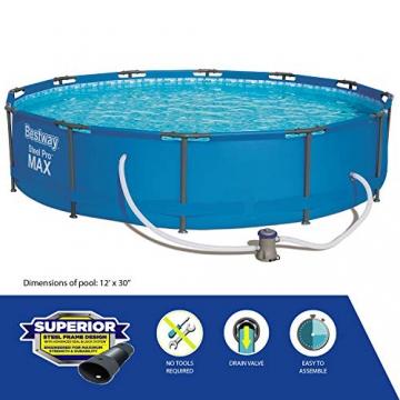 Bestway Frame Pool Steel Pro, Set mit Filterpumpe, 366 x 76 cm, blau - 4