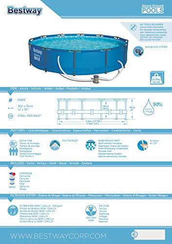 Bestway Frame Pool Steel Pro, Set mit Filterpumpe, 366 x 76 cm, blau - 8