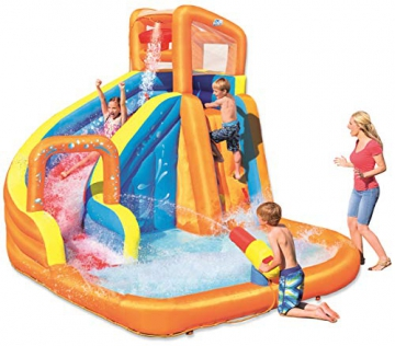 Bestway H2OGO! Wasseroark Turbo Splash, Planschbecken mit Wasserrutsche und Kletterwand, 365x320x275 cm - 1