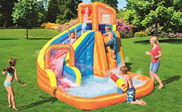 Bestway H2OGO! Wasseroark Turbo Splash, Planschbecken mit Wasserrutsche und Kletterwand, 365x320x275 cm - 48