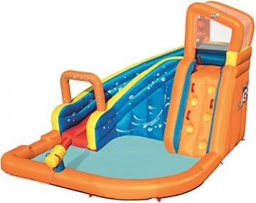Bestway H2OGO! Wasseroark Turbo Splash, Planschbecken mit Wasserrutsche und Kletterwand, 365x320x275 cm - 59