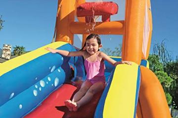 Bestway H2OGO! Wasseroark Turbo Splash, Planschbecken mit Wasserrutsche und Kletterwand, 365x320x275 cm - 95
