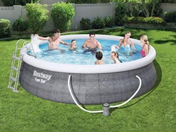 Bestway Komplettset Fast Pool 457x457x107 cm, Gartenpool selbstaufbauend mit aufblasbarem Luftring rund im Komplett Set, mit Filterpumpe, Sicherheitsleiter und Abdeckplane, Blau, 457 x 107 cm - 2