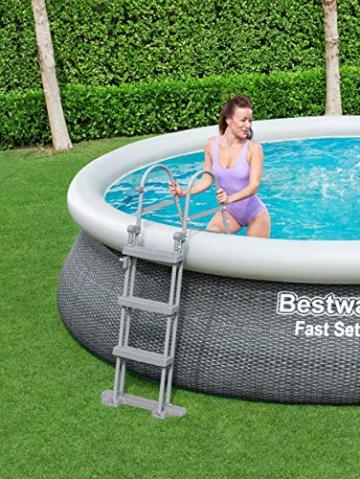 Bestway Komplettset Fast Pool 457x457x107 cm, Gartenpool selbstaufbauend mit aufblasbarem Luftring rund im Komplett Set, mit Filterpumpe, Sicherheitsleiter und Abdeckplane, Blau, 457 x 107 cm - 12