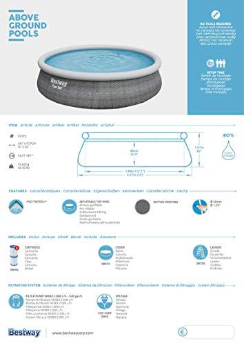 Bestway Komplettset Fast Pool 457x457x107 cm, Gartenpool selbstaufbauend mit aufblasbarem Luftring rund im Komplett Set, mit Filterpumpe, Sicherheitsleiter und Abdeckplane, Blau, 457 x 107 cm - 13