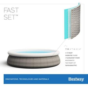 Bestway Komplettset Fast Pool 457x457x107 cm, Gartenpool selbstaufbauend mit aufblasbarem Luftring rund im Komplett Set, mit Filterpumpe, Sicherheitsleiter und Abdeckplane, Blau, 457 x 107 cm - 14
