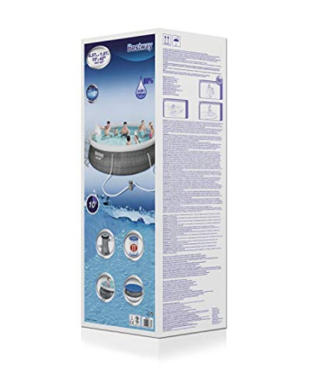 Bestway Komplettset Fast Pool 457x457x107 cm, Gartenpool selbstaufbauend mit aufblasbarem Luftring rund im Komplett Set, mit Filterpumpe, Sicherheitsleiter und Abdeckplane, Blau, 457 x 107 cm - 3