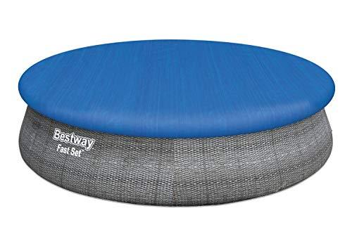 Bestway Komplettset Fast Pool 457x457x107 cm, Gartenpool selbstaufbauend mit aufblasbarem Luftring rund im Komplett Set, mit Filterpumpe, Sicherheitsleiter und Abdeckplane, Blau, 457 x 107 cm - 4