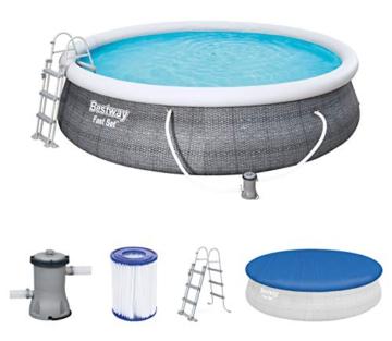 Bestway Komplettset Fast Pool 457x457x107 cm, Gartenpool selbstaufbauend mit aufblasbarem Luftring rund im Komplett Set, mit Filterpumpe, Sicherheitsleiter und Abdeckplane, Blau, 457 x 107 cm - 1