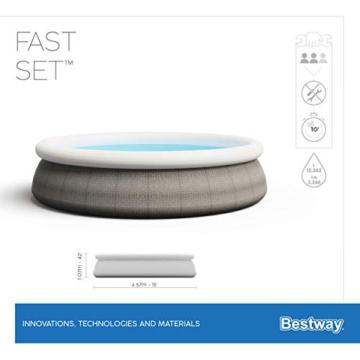 Bestway Komplettset Fast Pool 457x457x107 cm, Gartenpool selbstaufbauend mit aufblasbarem Luftring rund im Komplett Set, mit Filterpumpe, Sicherheitsleiter und Abdeckplane, Blau, 457 x 107 cm - 6