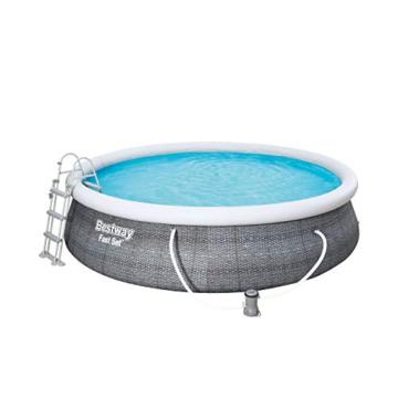 Bestway Komplettset Fast Pool 457x457x107 cm, Gartenpool selbstaufbauend mit aufblasbarem Luftring rund im Komplett Set, mit Filterpumpe, Sicherheitsleiter und Abdeckplane, Blau, 457 x 107 cm - 7