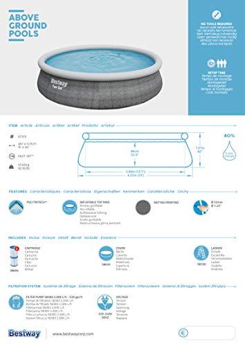 Bestway Komplettset Fast Pool 457x457x107 cm, Gartenpool selbstaufbauend mit aufblasbarem Luftring rund im Komplett Set, mit Filterpumpe, Sicherheitsleiter und Abdeckplane, Blau, 457 x 107 cm - 10