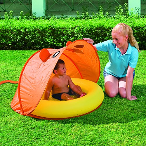 Bestway Planschbecken Twist'N Fold Tent mit Pop-up Zelt, 97x74 cm -