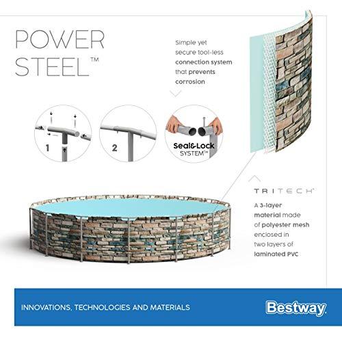 Bestway Power Steel 427x122 cm, stabiler Frame Pool rund im Komplett Set, inklusive Filterpumpe, Leiter und Abdeckplane - 16