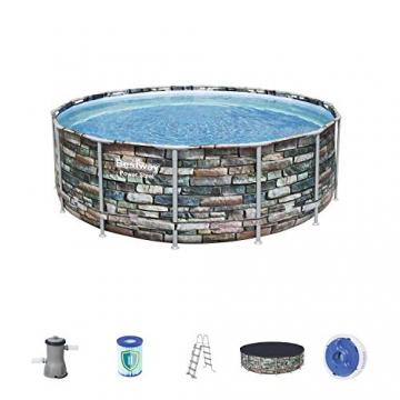 Bestway Power Steel 427x122 cm, stabiler Frame Pool rund im Komplett Set, inklusive Filterpumpe, Leiter und Abdeckplane - 1