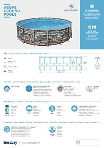 Bestway Power Steel 488x122 cm, stabiler Frame Pool rund im Komplett Set, inklusive Filterpumpe, Leiter und Abdeckplane - 14