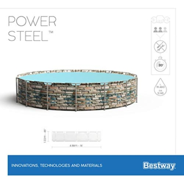 Bestway Power Steel 488x122 cm, stabiler Frame Pool rund im Komplett Set, inklusive Filterpumpe, Leiter und Abdeckplane - 15