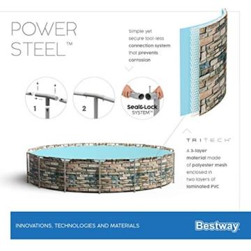 Bestway Power Steel 488x122 cm, stabiler Frame Pool rund im Komplett Set, inklusive Filterpumpe, Leiter und Abdeckplane - 16