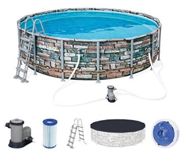 Bestway Power Steel 488x122 cm, stabiler Frame Pool rund im Komplett Set, inklusive Filterpumpe, Leiter und Abdeckplane - 1