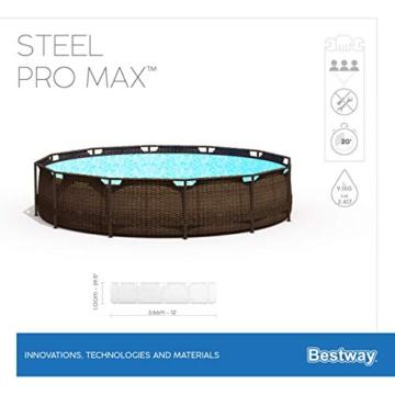 Bestway Power Steel Deluxe 366x100 cm, Frame Pool rund mit stabilem Stahlrahmen im Komplett-Set, rattan - 11