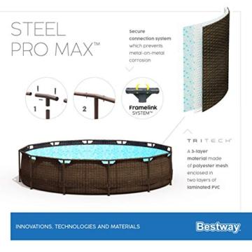 Bestway Power Steel Deluxe 366x100 cm, Frame Pool rund mit stabilem Stahlrahmen im Komplett-Set, rattan - 12