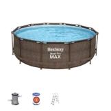 Bestway Power Steel Deluxe 366x100 cm, Frame Pool rund mit stabilem Stahlrahmen im Komplett-Set, rattan - 1