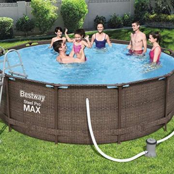 Bestway Power Steel Deluxe 366x100 cm, Frame Pool rund mit stabilem Stahlrahmen im Komplett-Set, rattan - 3