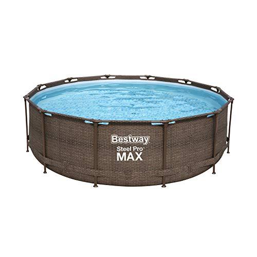 Bestway Power Steel Deluxe 366x100 cm, Frame Pool rund mit stabilem Stahlrahmen im Komplett-Set, rattan - 4
