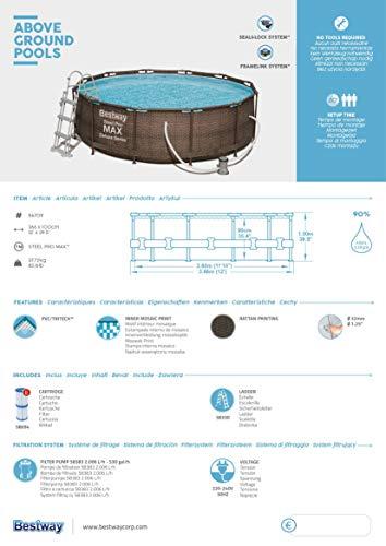 Bestway Power Steel Deluxe 366x100 cm, Frame Pool rund mit stabilem Stahlrahmen im Komplett-Set, rattan - 10