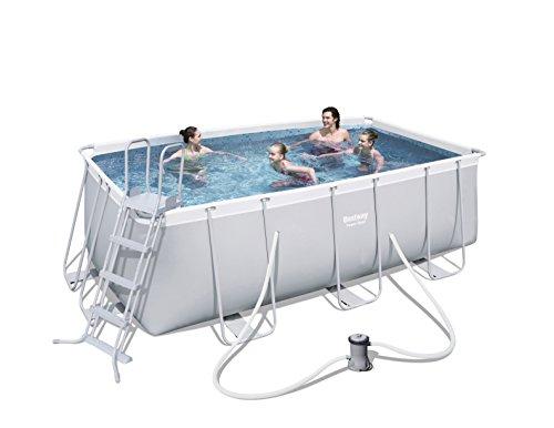 Bestway Power Steel Frame Pool Set, mit Kartuschenfilterpumpe, viereckig, grau, 412 x 201 x 122 cm - 2