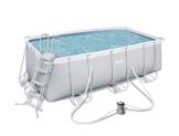 Bestway Power Steel Frame Pool Set, mit Kartuschenfilterpumpe, viereckig, grau, 412 x 201 x 122 cm - 1