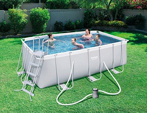 Bestway Power Steel Frame Pool Set, mit Kartuschenfilterpumpe, viereckig, grau, 412 x 201 x 122 cm - 3