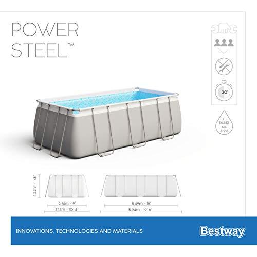 Bestway Power Steel Framepool  Komplett-Set, eckig, mit Sandfilteranlage, Sicherheitsleiter & Abdeckplane 549 x 274 x 122 cm - 12