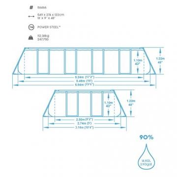 Bestway Power Steel Framepool  Komplett-Set, eckig, mit Sandfilteranlage, Sicherheitsleiter & Abdeckplane 549 x 274 x 122 cm - 4