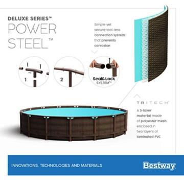 Bestway Power Steel Framepool Komplett-Set, rund, mit Einhängeskimmer/Filterpumpe, Sicherheitsleiter und Abdeckplane 427 x 107 cm - 15