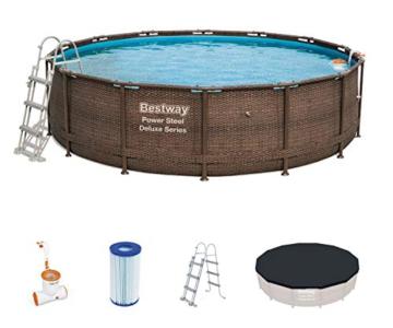 Bestway Power Steel Framepool Komplett-Set, rund, mit Einhängeskimmer/Filterpumpe, Sicherheitsleiter und Abdeckplane 427 x 107 cm - 1