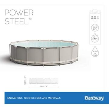 Bestway Power Steel Framepool Komplett-Set, rund, mit Filterpumpe, Sicherheitsleiter & Abdeckplane 488 x 122 cm - 13