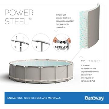Bestway Power Steel Framepool Komplett-Set, rund, mit Filterpumpe, Sicherheitsleiter & Abdeckplane 488 x 122 cm - 14