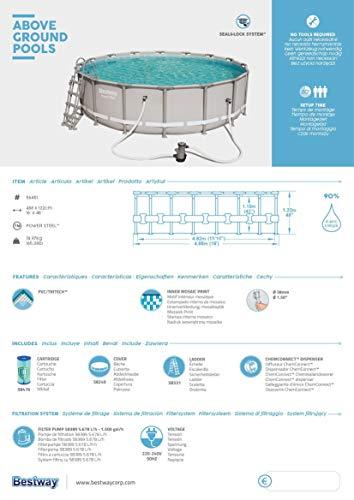 Bestway Power Steel Framepool Komplett-Set, rund, mit Filterpumpe, Sicherheitsleiter & Abdeckplane 488 x 122 cm - 10
