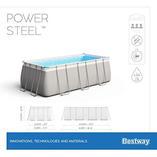 Bestway Power Steel Framepool-Set, eckig, mit Sandfilteranlage & Sicherheitsleiter 404 x 201 x 100 cm Pool, grau - 12