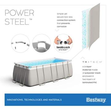 Bestway Power Steel Framepool-Set, eckig, mit Sandfilteranlage & Sicherheitsleiter 404 x 201 x 100 cm Pool, grau - 13