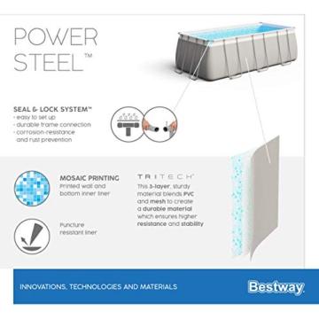 Bestway Power Steel Framepool-Set, eckig, mit Sandfilteranlage & Sicherheitsleiter 404 x 201 x 100 cm Pool, grau - 14