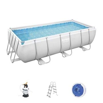 Bestway Power Steel Framepool-Set, eckig, mit Sandfilteranlage & Sicherheitsleiter 404 x 201 x 100 cm Pool, grau - 1