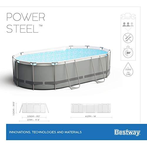Bestway Power Steel Framepool-Set, oval, mit Filterpumpe & Sicherheitsleiter 427 x 250 x 100 cm - 13