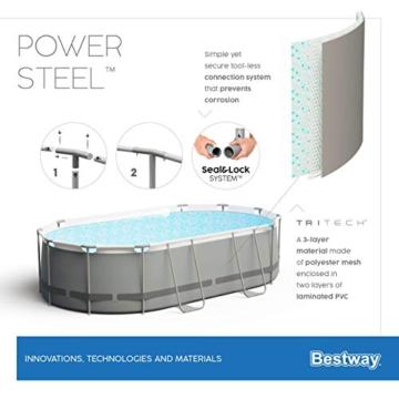 Bestway Power Steel Framepool-Set, oval, mit Filterpumpe & Sicherheitsleiter 427 x 250 x 100 cm - 14
