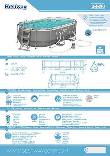 Bestway Power Steel Framepool-Set, oval, mit Filterpumpe & Sicherheitsleiter 427 x 250 x 100 cm - 15